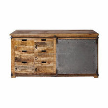 Industrial Sliding Iron door Mango Wood cabinet , Unique style industrial living room furniture