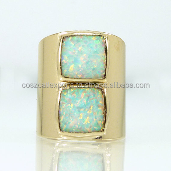 925 Sterling Silver Engagement Ring Square Fire Fashion White October Birthstone Gold Statement Ring Jewelry
