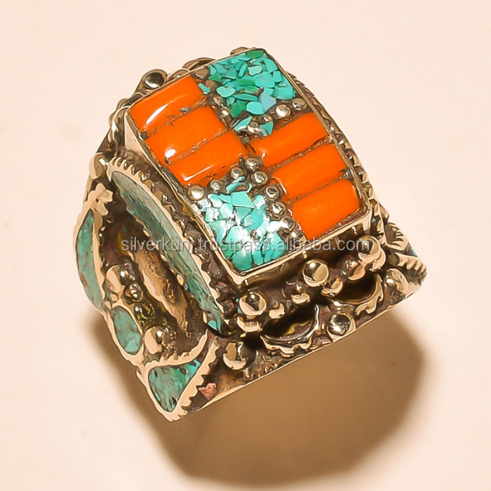 925 Sterling Silver Tribal Ring Jewellery wholesaler Coral & turquoise Gemstone