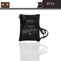 Black leather sling bags for men and women both genuine leather