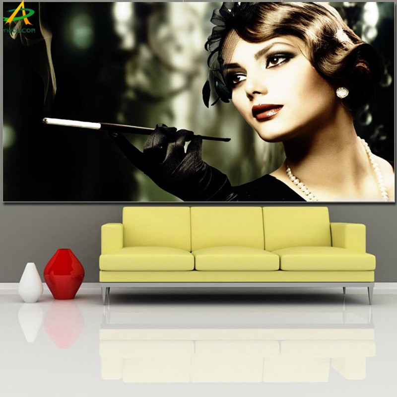 Retro Smoking Woman portrait beautiful girl canvas print painting wholesale