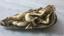 Handmade unique rare marble-dust very very fine carved beautiful ganesha sleep in leaf home decorative /gift