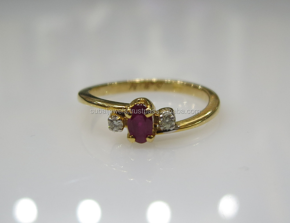 1 Ruby 2 Diamond Ring In 14K Gold