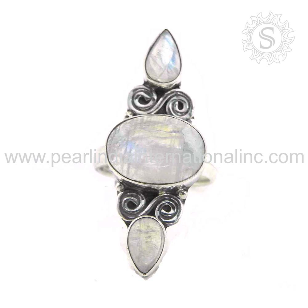 Graceful Rainbow Moon Stone Ring 925 Silver Jewellery Wholesaler Silver Jewelry