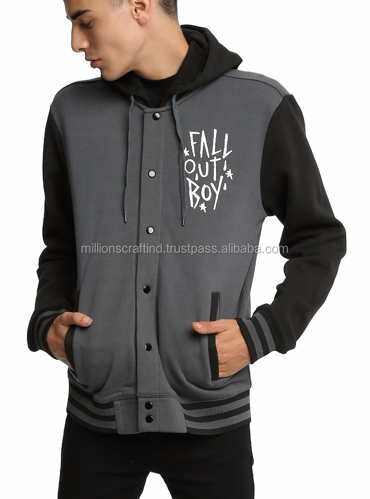 Sportswear Melton Wool Shawl Collar Varsity Jacket College style jacket color grey and black for boy style