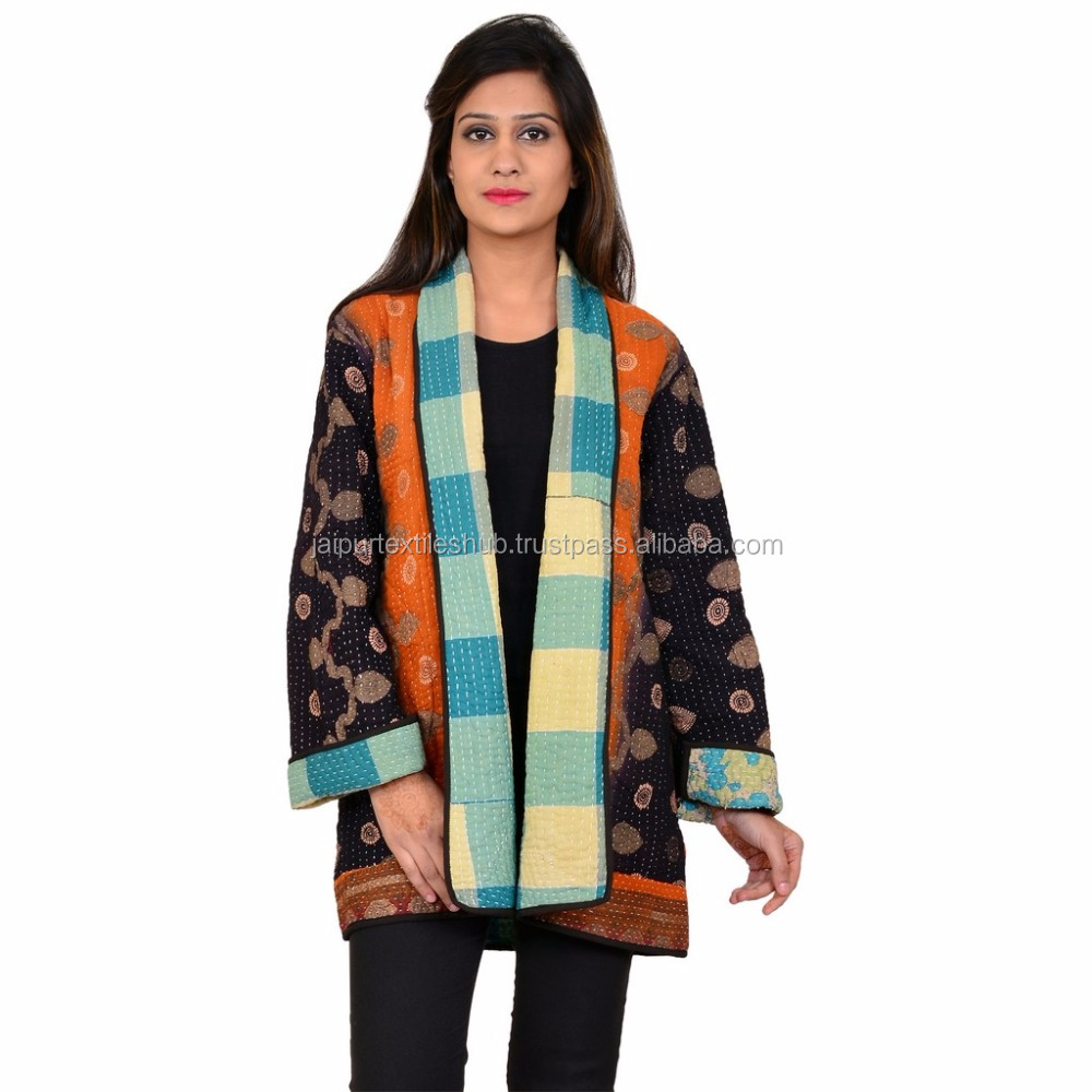 Multi color hand woven pure cotton made in india vintage jacket for women