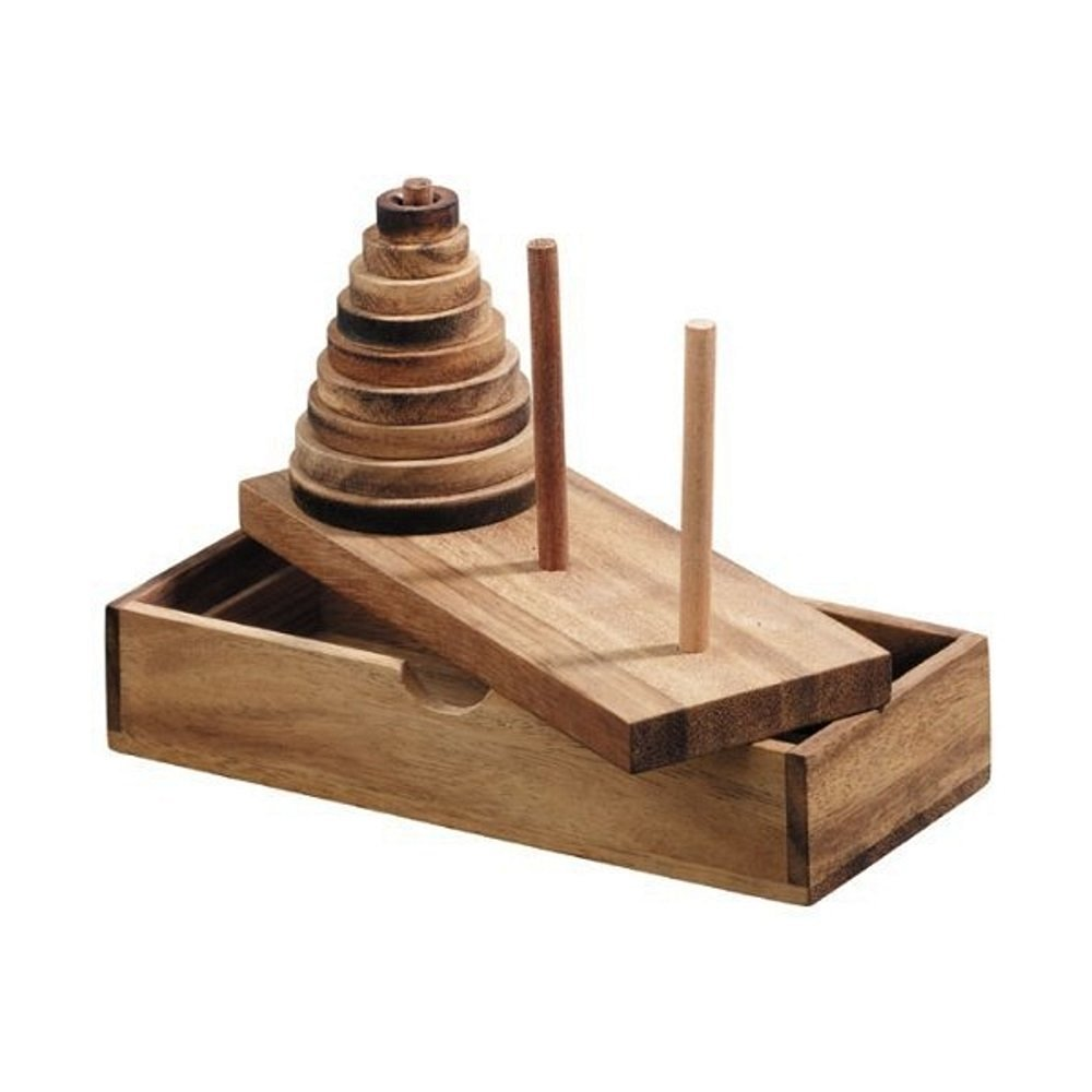 Handmade Tower of Hanoi Wooden Puzzle Game (9 Rings) - Handmade Wooden Puzzles for Adults