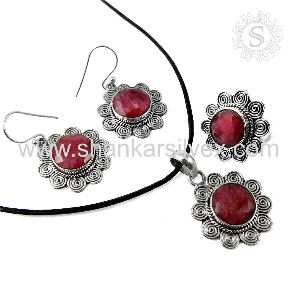New Arrival Pink Ruby Jewelry Set 925 Silver Jewelry Handmade Silver Jewelry Manufacturers