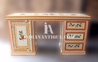 INDIAN HAND PAINTED FLORAL DESIGN UNIQUE OFFICE TABLE IA-NHP-03