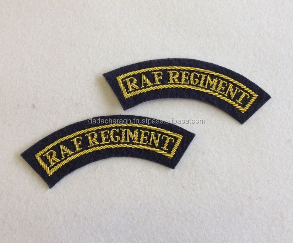 HANDMADE EMBROIDERED BLAZER BADGES RAF REGIMENT TITLES, MESS DRESS, ROYAL AIR, PAIR, R.A.F