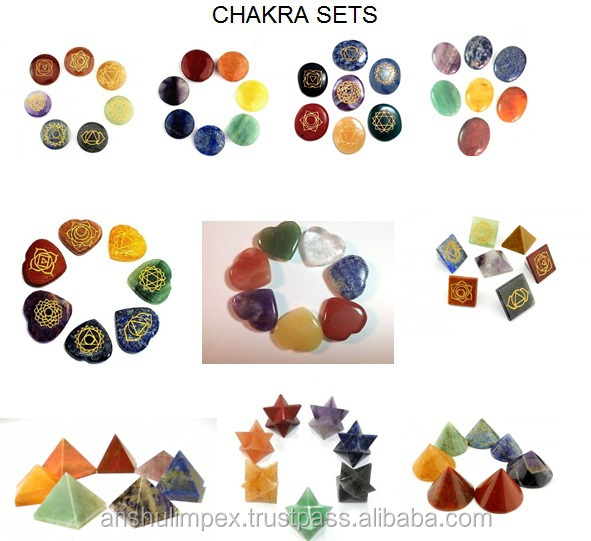 Engraved Chakra Oval Cabochon Set with Reiki carvings for healing