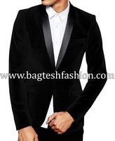 Partywear Mens Jacket Shawl Collar Black Velvet Blazer