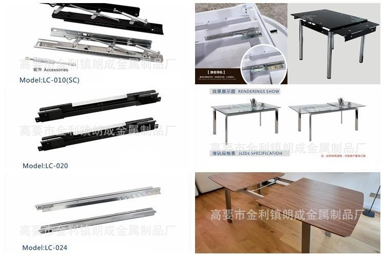 Telescope runner extensible dining room table steel slide