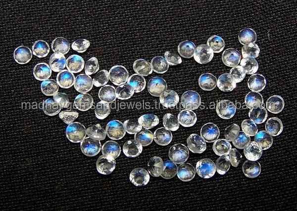 Natural AAA Blue flashy white Rainbow Moonstone 3mm round cut faceted for jewelry