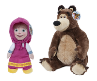 "MASHA AND THE BEAR (T3) - Plush toys characters ""Masha"" & ""The Bear"" of the movie ""Masha and the Bear"" - Quality Super Soft"
