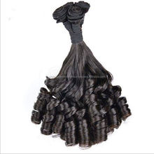Cheap indian half straight half curl indian human hair weft