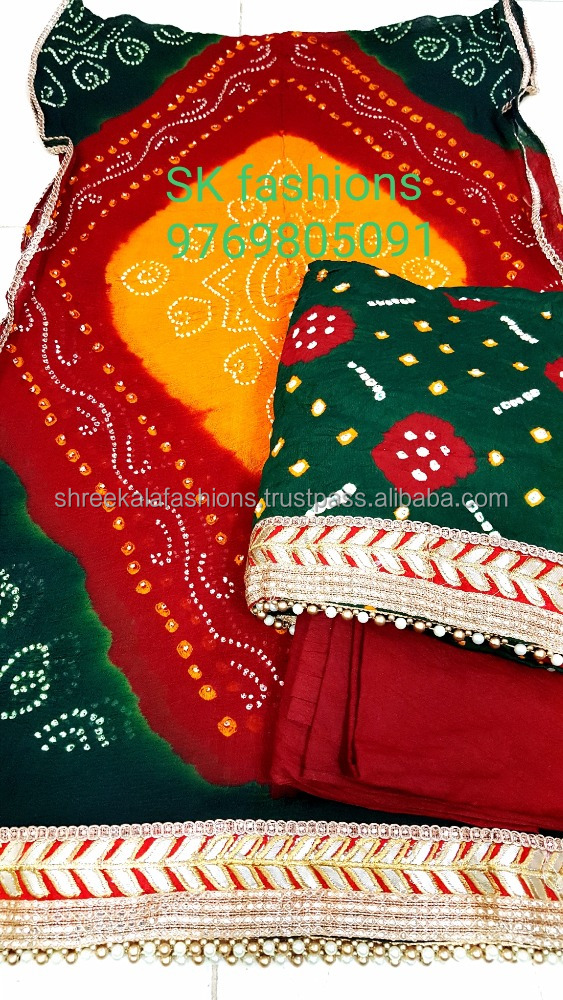 Hiquality designer cotton dressmaterial with pure chiffon dupatta with gotta Patti work