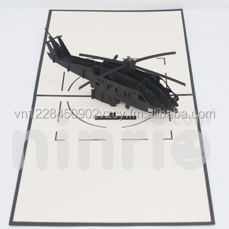 Black helicopter 3d card pop-up card
