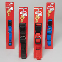 DOG COLLAR 3 ASST SOLID COLORS AND SIZES W/PLASTIC SNAP IN PDQ #66741PN