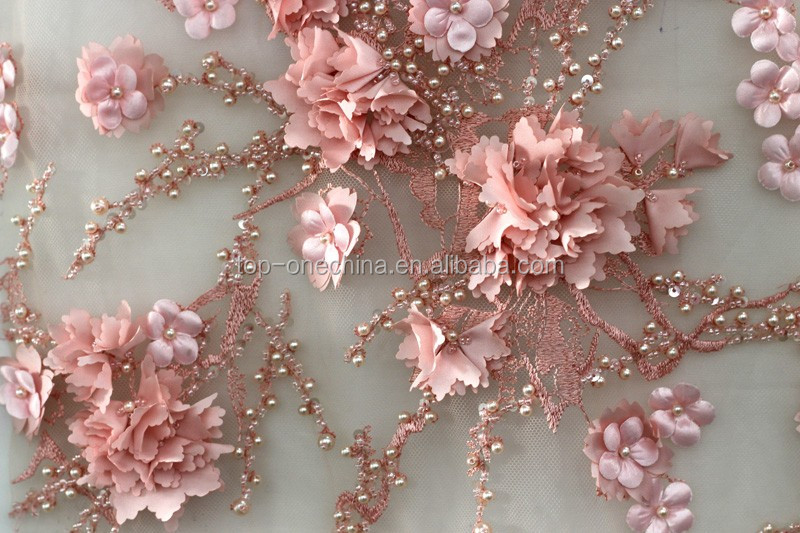 Flower Handwork Embroidery 3d Beaded French Wedding Net