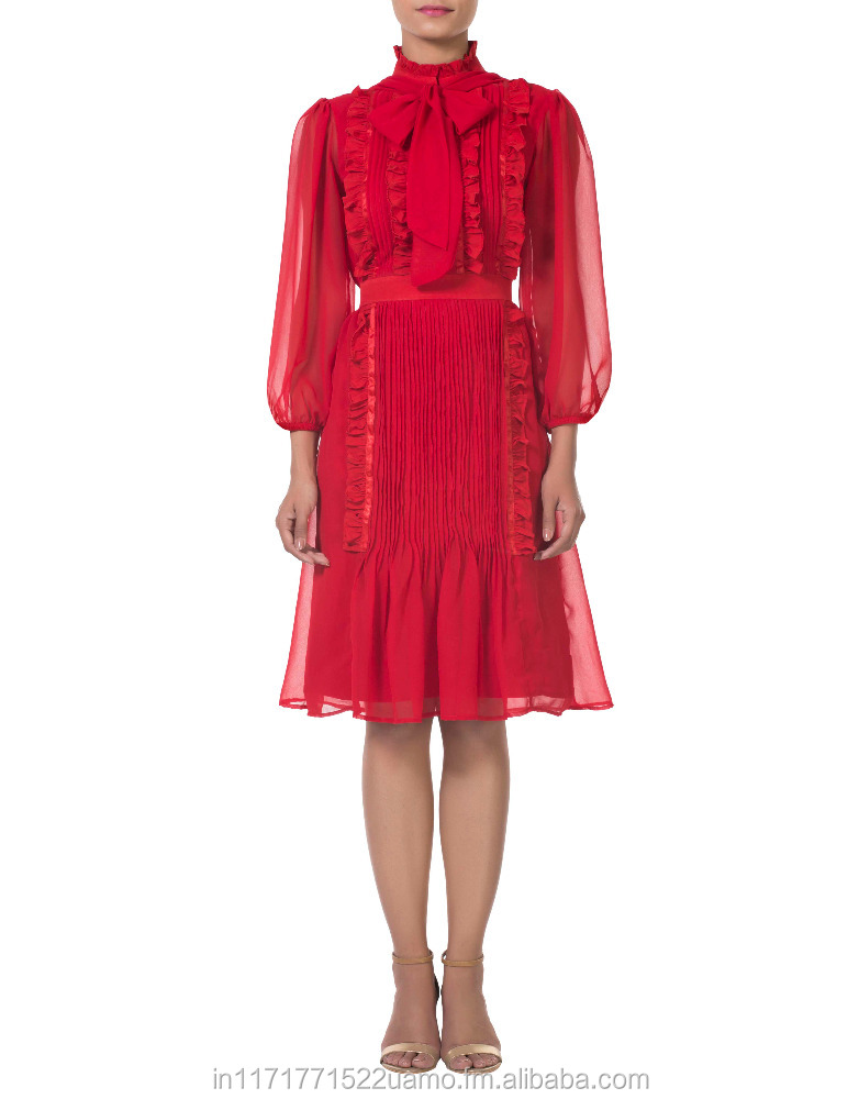 Red victorian style belted,knee length dress with pussybow ,ruffles and pleated front panel detailing.