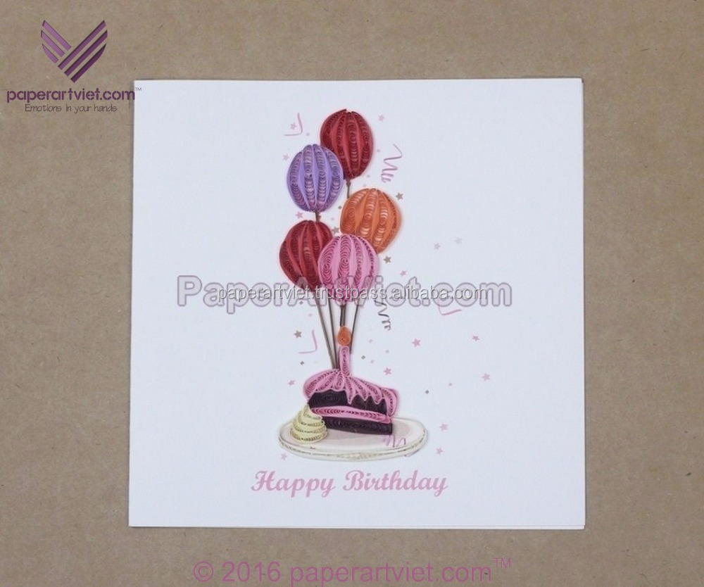 3D quilling card colourful baloons and cupcake/ happy birthday card