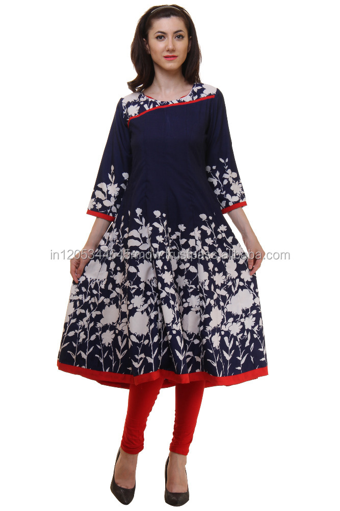 Wholesale Indian Designer Indigo Summer Crepe Printed Kurta Dress For Ladies