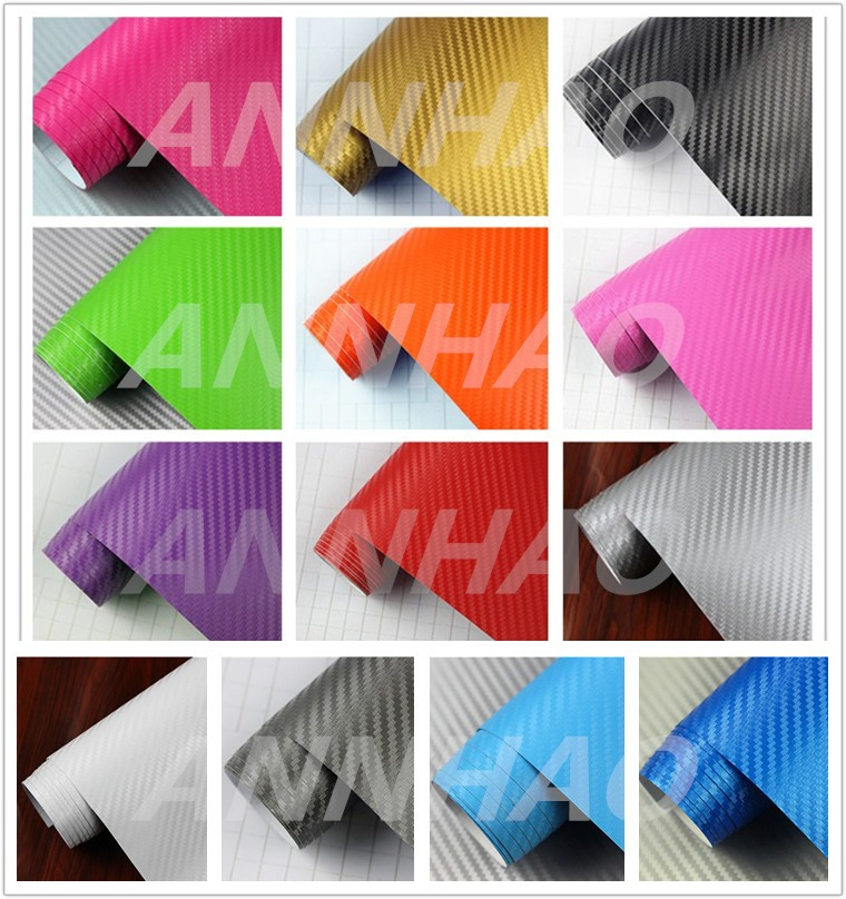 Logo / Badge PVC Film Air Bubble Free 1.52 x 30M Thick Carbon Fiber Vehicle Wrap