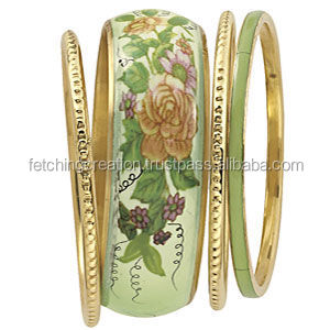 golden stud brass bangle single brass bangle with designer print