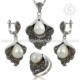 Trendy vintage style silver set 925 sterling silver pearl cz jewelry set handmade silver jewelry wholesaler