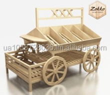 Wooden bakery, grocery, vegetable stands and racks, shop counter, customer production is available