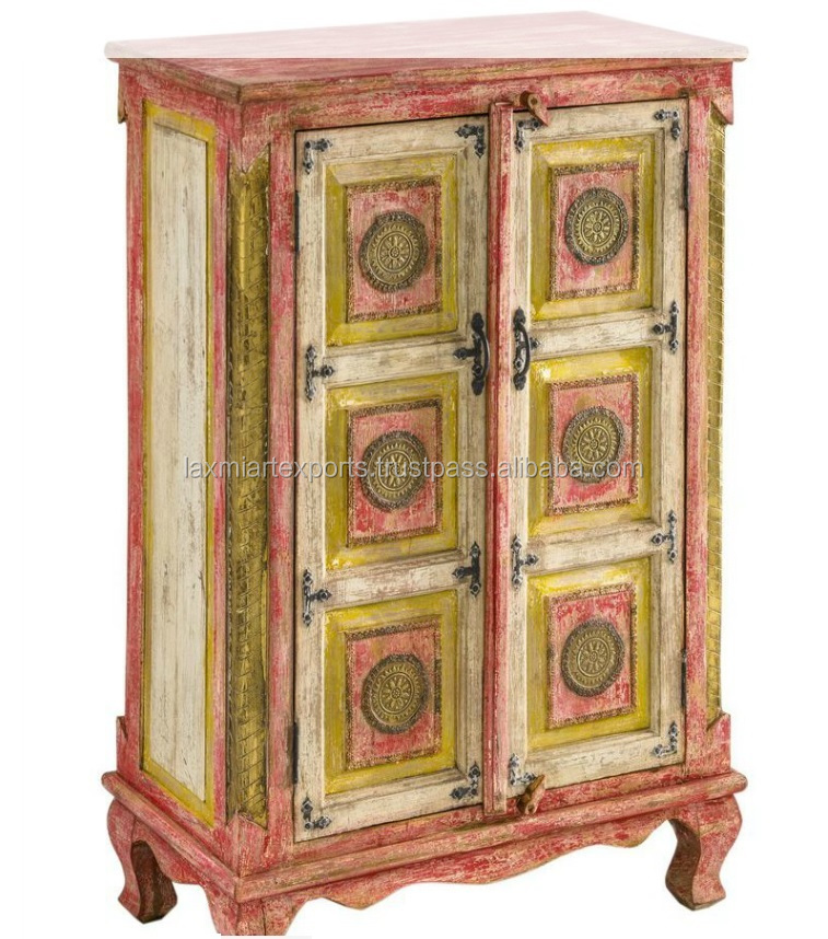 Wooden Almirah Modern Wood Wardrobe Hand Painted Distressed Finish Red Manufacturer Wholesale Supplier