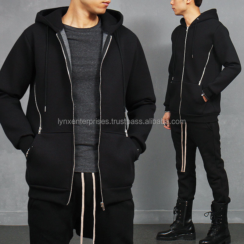 Diagonal Zipper Hooded Neoprene Zip Up Sweatshirt / Neoprean zipper up Hooded Sweatshirt / Neoprean zipper Hooded Jacket