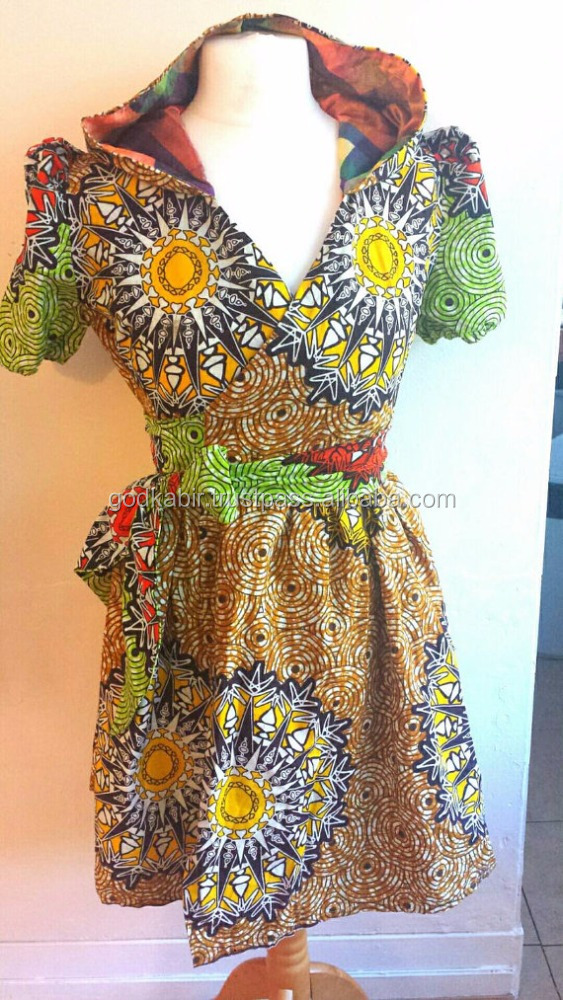 Cream and brown Wrap over hooded dress. Wrapover Ankara dress, African print dress.