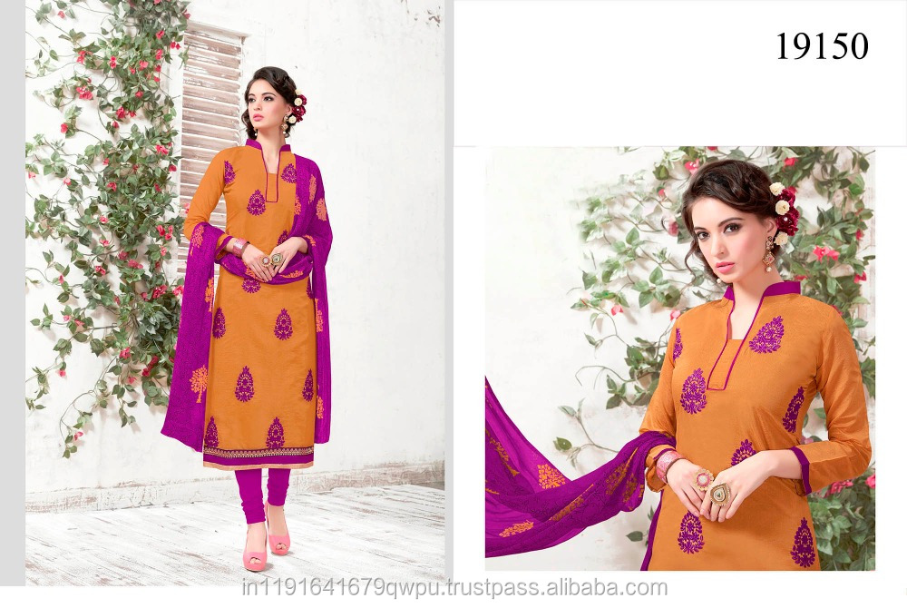 Ochre Yellow Chanderi Dress Material Wholesaler In India Surat/Chudidar Embroidery Dress Suit