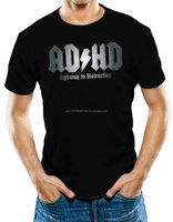 Athletic Unisex ADHD Highway To Distraction Black T-Shirt 100% Soft Cotton