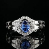 Solid 14k White Gold Natural Blue Sapphire Engagement Wedding Men's Diamond Ring