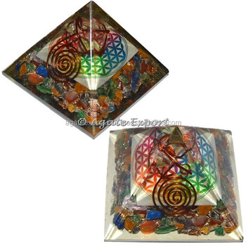 Flower of Life Orgone Pyramids with Crystal Star Top Online Seller of Orogne pyramids