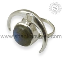 Perfect Labradorite Design Wholesale Indian Gemstone Wedding Silver Jewelry Ring RNCB15-1034-6