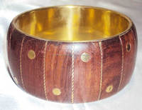 2015 Beautiful Wooden Bangle With Brass Spot And Wire Design 10608