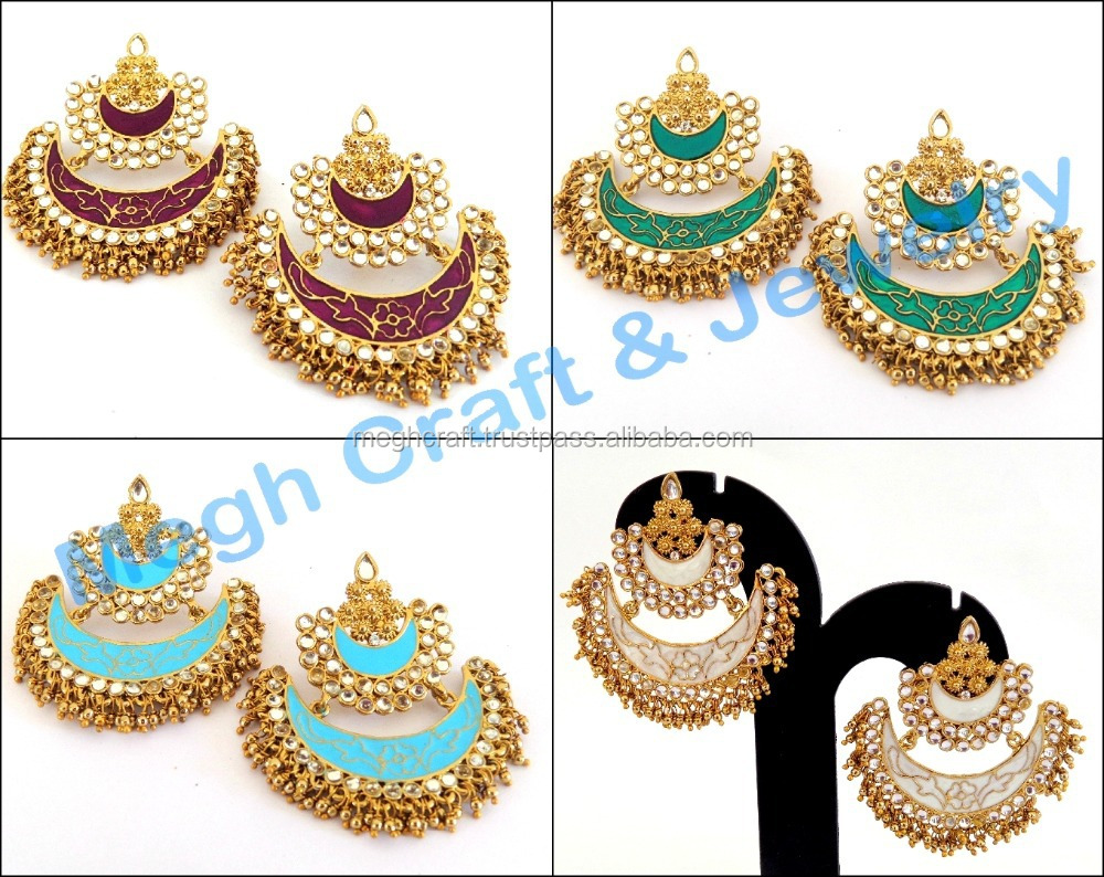 2015 Punjabi Chandelier Earrings Wholesale Meenakari