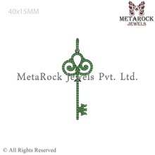 Key Design Pendant Fashion Jewelry 925 Sterling Silver Chrome Diopside Gemstone Pendant Jewelry Wholesale