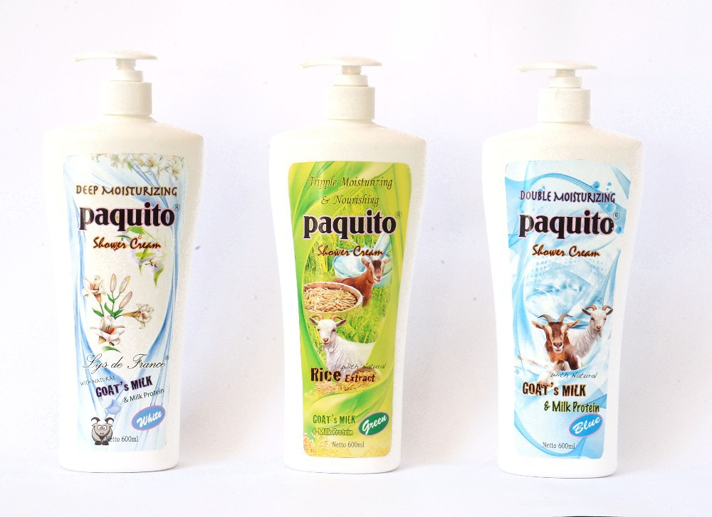 Paquito Shower Cream (Body Wash) 600ml with Goat Milk and Milk Protein (Indonesia)