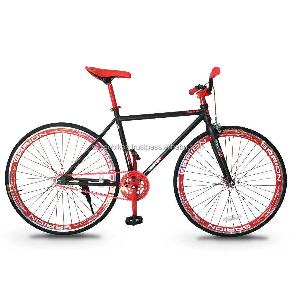 Garion 700C Fixie Fixed Gear Bike Matte Black with Red
