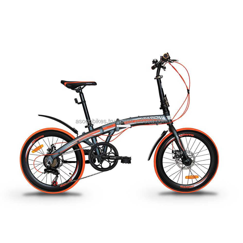 "GARION 20"" Alloy Folding Bike Foldable Bicycle with Disc Brake - Matte Grey with Orange"