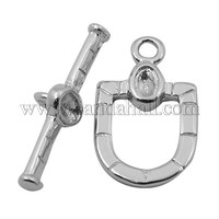 Brass Bar & Ring Toggle Clasps, Window, Platinum, 13x23mm, 25x7x3mm KK-K810-P