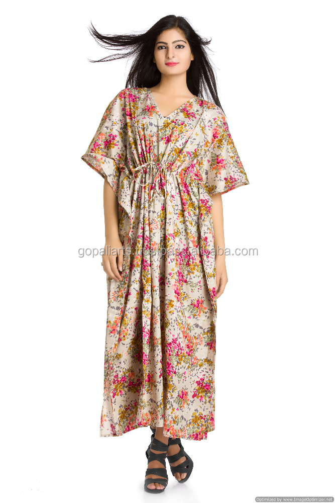 Indian Maxi Long Dress Plus Size Hippie Light Grey Fl Printed Beach Cover Boho Y Kimono Sleeves Women Kaftan