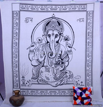 Indian Lord Ganesha Cotton Tapestry, Handmade Wall Hanging Ethnic Boho Hippie Printed Bedspread Wall Decor Home Decor Tapestry