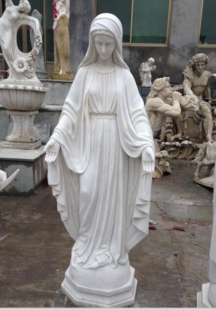 White marble stone Western religion St Margaret Mary sculpture