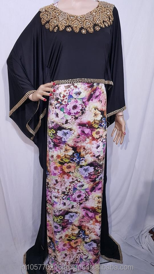 New beautiful flower cape style beaded kaftan maxi dress